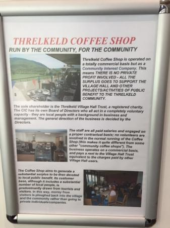 Threlkeld Coffee Shop: A poster inside