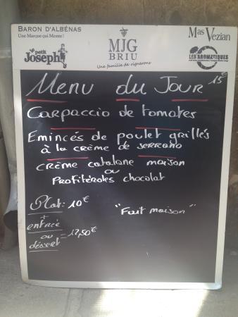 El Patio de la loge : menu du jour