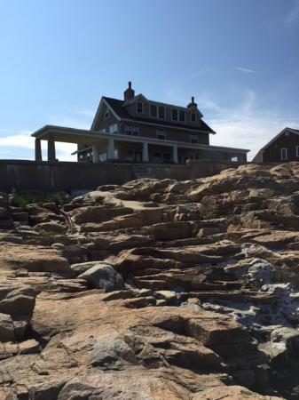 Captain's House: Looking back over the seawall to the House