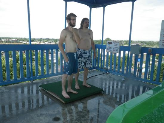 Roaring Springs Waterpark: My husband and son weighing in for a ride