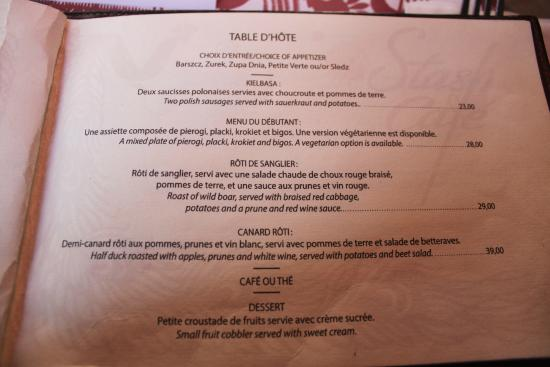 Table d 39 hote menu picture of stash cafe montreal for Table cafe menu