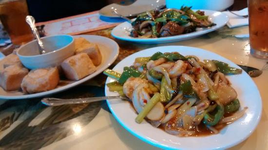 Din Ho Chinese BBQ: Fried tofu and shrimp, combo lomein, garlic shrimp, Mongolian beef, salt pepper shrimp