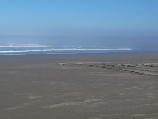 Tire marks in the big, flat beach, Samoa Dunes Rec Area near Eureka