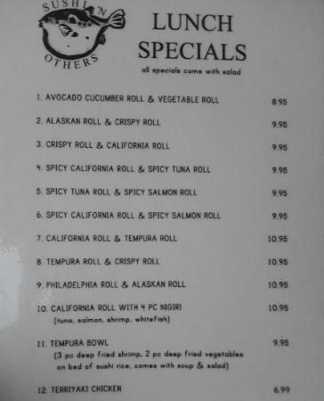 Lunch specials menu picture of sushi 39 n saginaw for Lunch specials