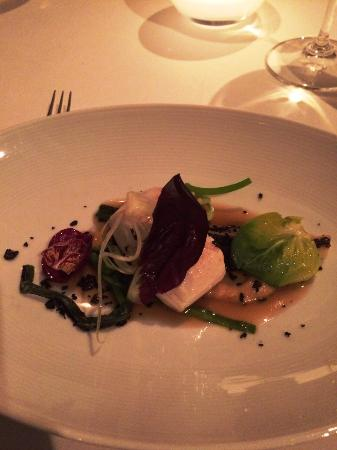 Halibut, calcot, radicchio, lobster broth - a triumph, wanted more!