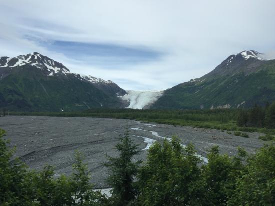 Sourdough Sunrise B & B : Distant view of Exit Glacier nearby