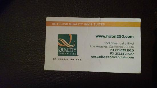 Hotel Silver Lake Los Angeles: Hotel's business card