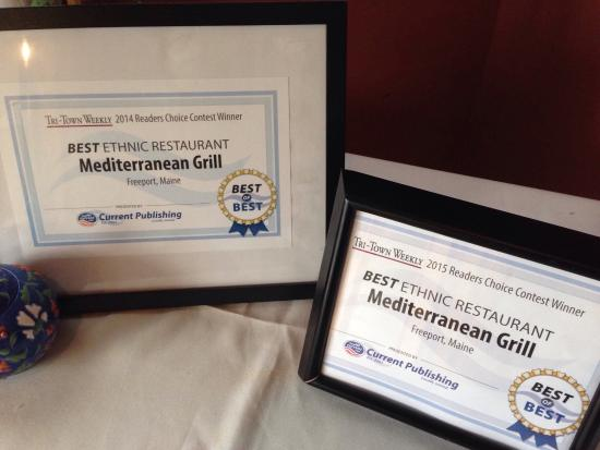 """Mediterranean Grill: Winer of """"BEST OF BEST"""" 2 years in the row.  Congrats!!!!"""