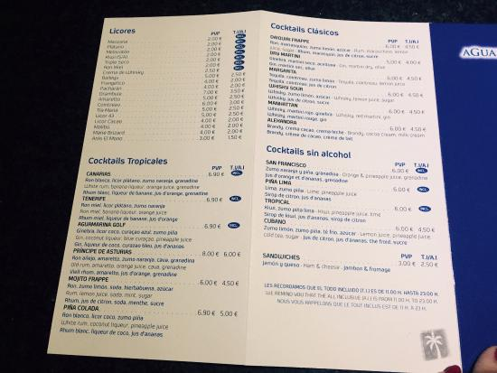 Golf del Sur, Spain: Drinks list all inclusive
