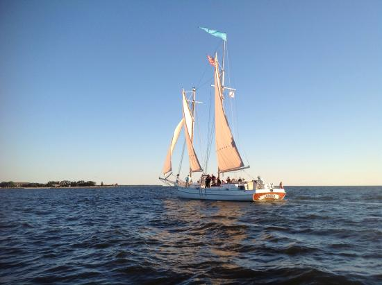 Schooner Joshua sailing off of Point Clear, Al