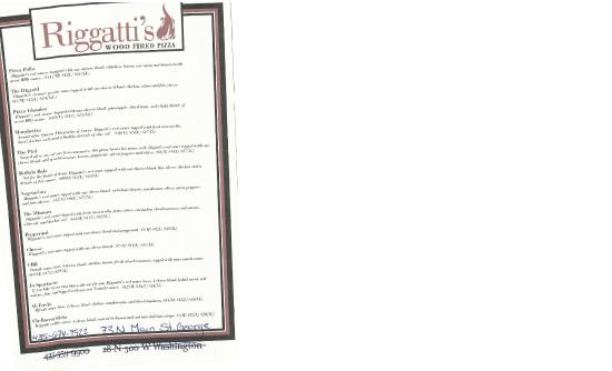 Riggatti's Wood Fired Pizza: Menu to create your own authentic Italian Pizza-YUMMM