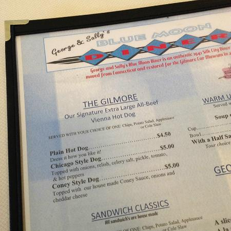 George & Sally's Blue Moon Diner menu