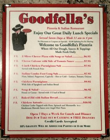 Goodfella's Pizzeria: Menu