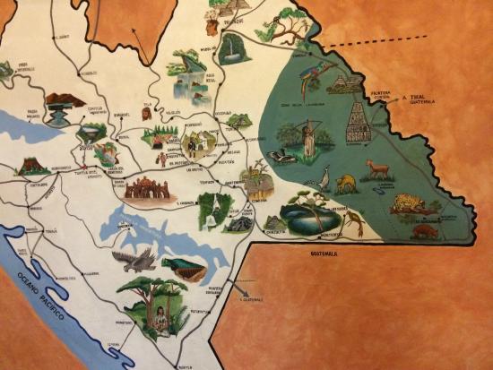 Hotel Rincon del Arco: Mapa de Chiapas en Recepción