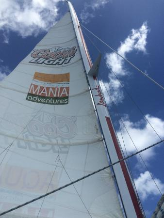 Simpson Bay, St. Maarten/St. Martin: Looking up at the sail