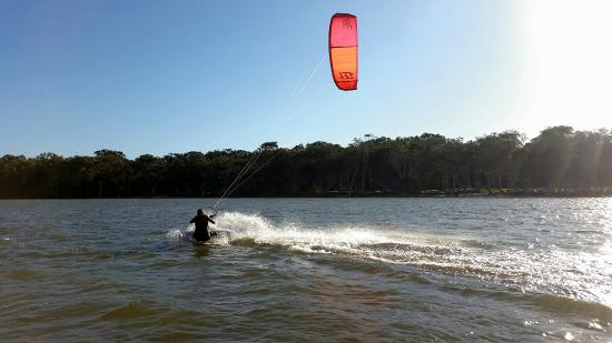 Adventure Sports Kitesurf Australia: Jenna flying along at Lake Weyba