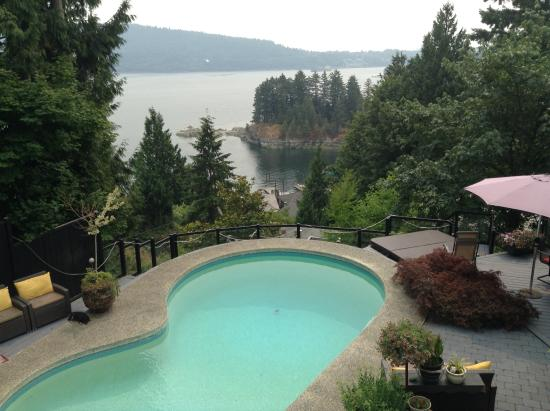 Lookout Point B and B: Pool/patio with view of Burrard Inlet