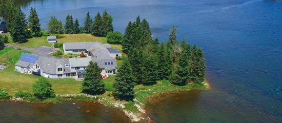 Ann's Point Inn: The inn sits at the end of a peninsula. It is surrounded by water on three sides.