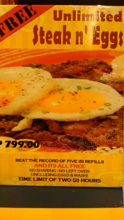 Heaven & Eggs Glorietta: Unli-steak challenge (finish at least 5 refills in under 2 hours and you won't have to pay)