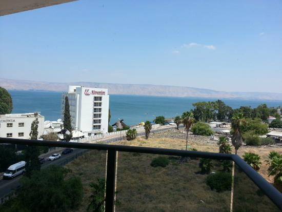 Emily's Hotel: View form balcony, looking south over Sea of Galilee