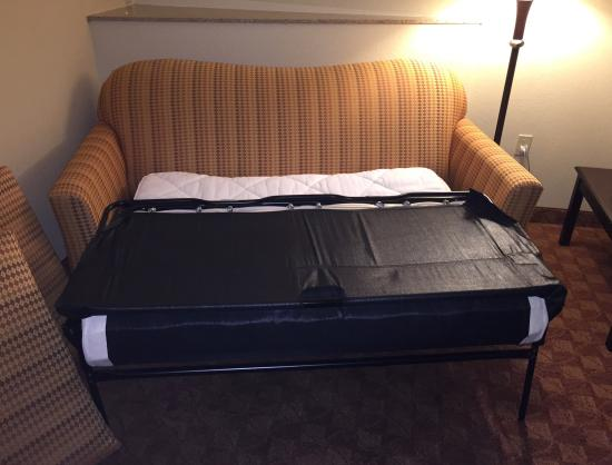 Comfort Suites Eugene: Lots of pillows. Iron & ironing board. Pullout sofa bed.