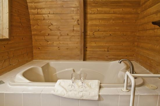 Salt Springs Spa Resort: Mineral springs jet tub in one bedroom ocean view chalet.