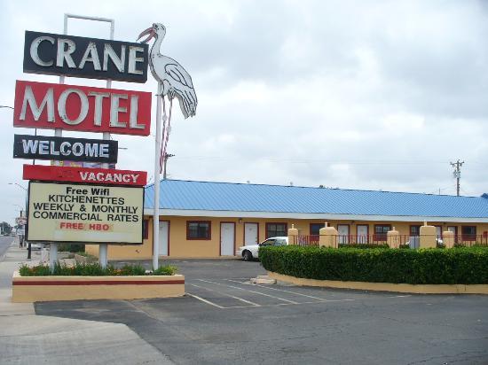 Crane Motel Sign In Daytime