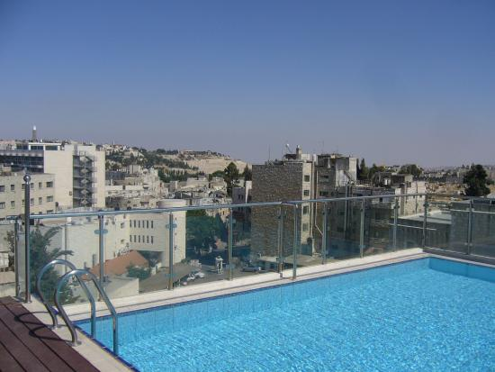 rooftop view from the pool at the St. George Hotel Jerusalem