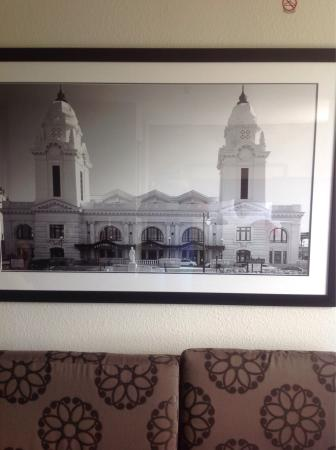 Residence Inn Worcester : Print of Worcester Union Station over couch