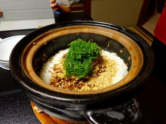 Traditional Kyoto Inn Serving Kyoto Cuisine IZUYASU: Rice, with small fishes, sesame and seaweed