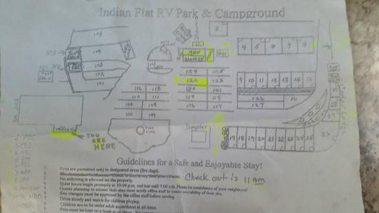 Indian Flat Campground: 106-113 good sites. 124-125 not good.