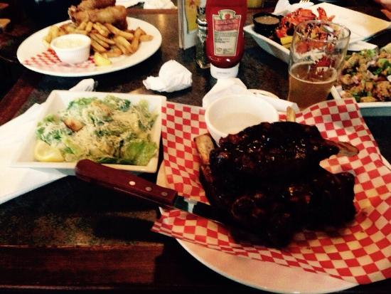 Shady Tree Pub : Monster bbq beef ribs with a Caesar salad