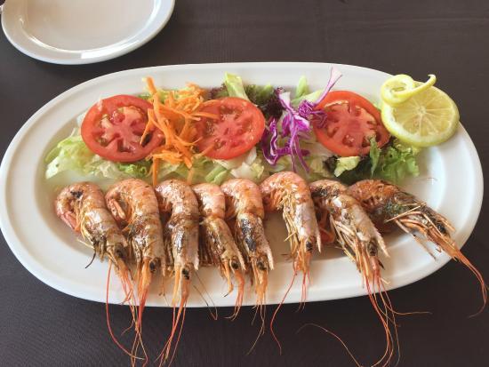 Cala Mandia Restaurant: I gamberi alla piastra