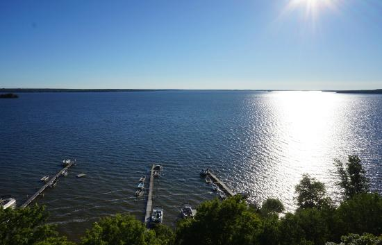 Birch Shores Resort: Aerial of Docks and Big Lake Manistique
