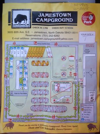Jamestown Campground: Map to tenting sites