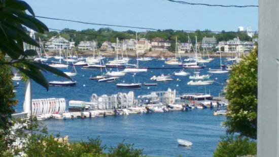 A Lady Winette Cottage Bed & Breakfast: The view of Marblehead Harbor from the porch.