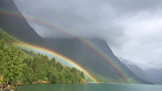 Sande Camping: Double rainbow.