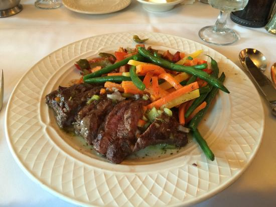East Islip, NY: Flat Iron Steak with sweet potato mash and steamed vegetables