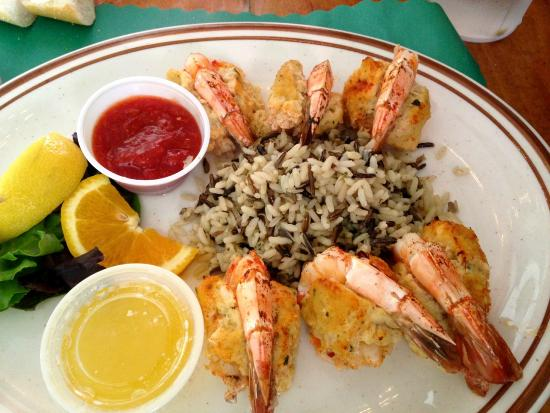 Spikes Fish Market: Shrimp Stuffed with Crabmeat Stuffing and Wild Rice
