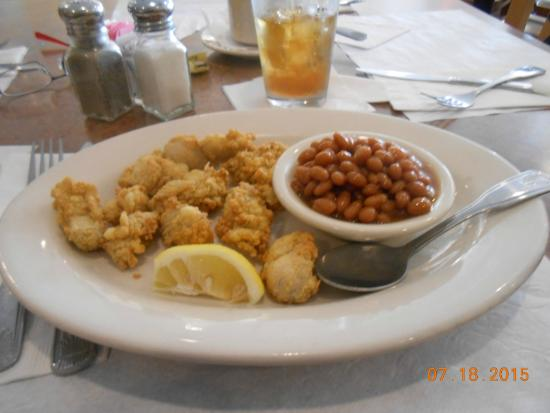 Clam Bake: fried oysters & beans