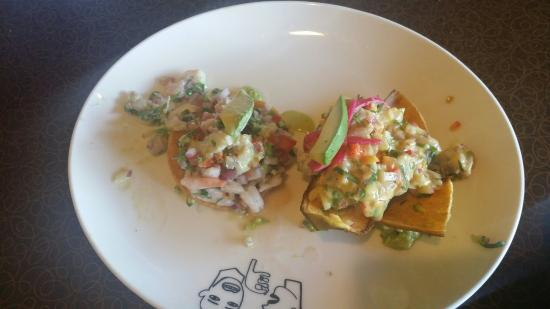 Skirt steak nacho, Ceviche, sweet/green corn tamales. - Picture of ...