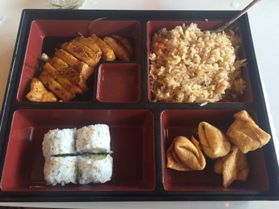 Bonsai Japanese Steakhouse: Bento box; teriyaki chicken, wontons, fried rice, shrimp tempura rolls 😍