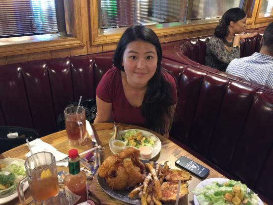 Steer N Stein : My wife with appetizer and salad