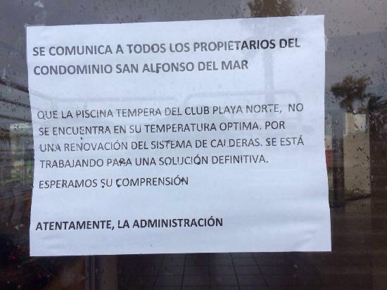 San Alfonso del Mar: Piscina no disponible