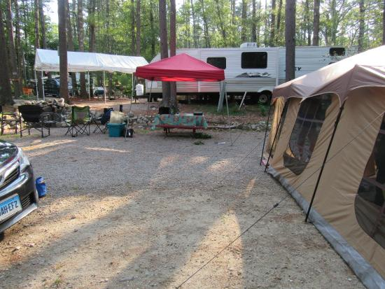 Whispering Pines Campground: tent and canopy