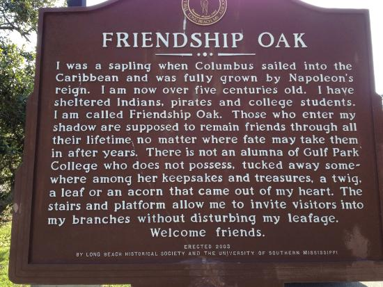 Friendship Oak: The history of this tree is amazing.  If you're in the Mississippi Gulf, you should stop and tak
