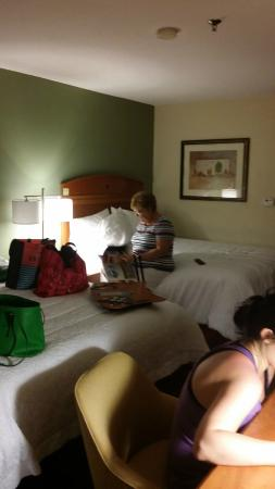 Hampton Inn I-75 Lexington/Hamburg Area: 2 queen beds, tv tray, kind of see the desk chair/desk area