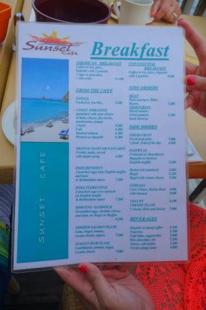 Sunset Cafe Menu