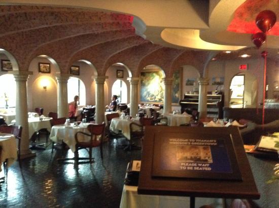 Really elaborate greek themed decor inside very nicely