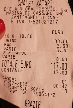 Katari Beach Ristobar: Dieci euro a bibita